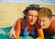 Ritratto di coppia sulla spiaggia - Opera dell'artista Orietta Forte