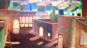 Città n° 11 - Acrilico su masonite - 95x53