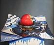 Composizione con mela rossa 40x50 - Olio su legno