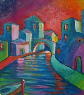 Borgo - Olio su tavola 40x40