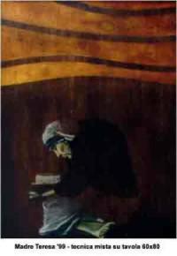 Madre Teresa - Tecnica mista su tavola 60x80