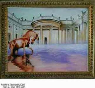 Opera dell'artista Nello Senatore - Moto e remoto - Olio su tela 120x80