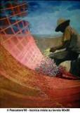 Il pescatore - tecnica mista su tavola 60x80