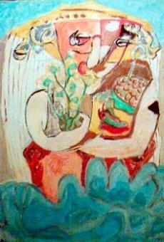 Signora di mezz'età fa la spesa - opera dell'artista Lodovico Mancusi