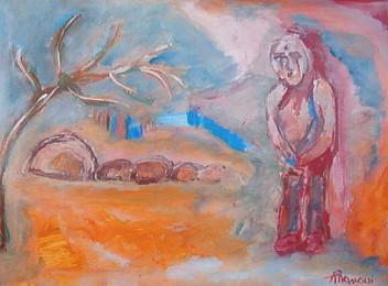 ... piegato a balestra guarda l'abisso 30x40  - Opera dell'artista Lodovico Mancusi