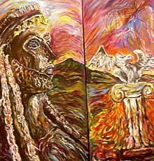 Zeus, il Dio che atterra e fulmina - Opera dell'artista Rosa Spinillo