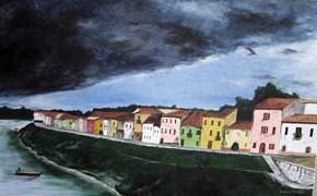 Temporale sul borgo - Opera dell'artista Stefano Brocca (50x80)