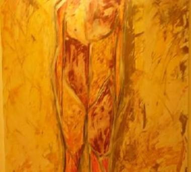 Marcella come eri a 40 anni (macelleria) 100x100 Acrilico su tela