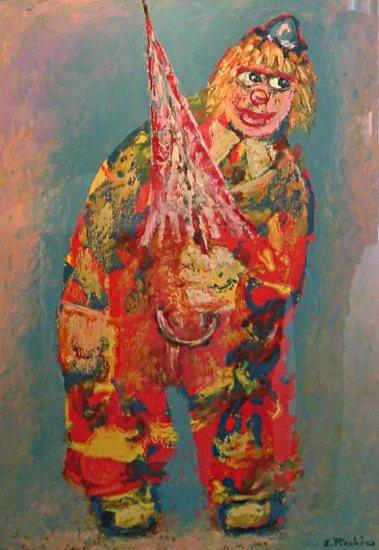 Clown origliante - olio su tela - 50x70