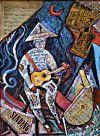 Uomo di carta immerso nella musica 65x80
